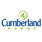 A green plant surrounded by green dots over the words Cumberland Farms