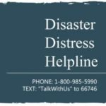 """Blue square with the words """"Disaster Distress Helpline"""" aligned to the right."""