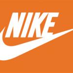 The signature white Nike swoosh on an orange background