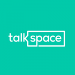 """A turquoise square with the text """"Talkspace"""" in the middle. An angular speech bubble surrounds the word """"space""""."""
