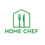 A green fork and knife inside of a house icon
