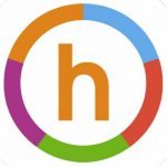 A lowercase letter 'h' with a multicolor circle around it.