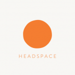 """An orange circle in the middle of a white square, with the text """"Headspace"""" at the bottom."""