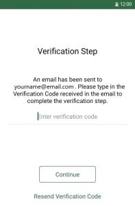 """Screenshot from Heroes Health app. The heading reads Verification Step"""". Beneath reads """"An email has been send to yourname@email.com. Please type in the verification Code received in the email to complete the verification step."""