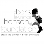 """A Black man carries a Black girl on his shoulders. To the left of them is text reading """"The Boris Lawrence Henson Foundation: Break the Silence. Break the cycle."""""""