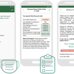 Three screenshots from UNC's Heroes Health app: This leftmost is of a question about the user's comfort with the level of PPE supplies at their workplace. The middle screenshot is of an in-app mental health report. The rightmost is of an in-app resources page.
