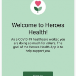 "Screen reading ""Welcome to Heroes Health"" with a green button reading ""sign in""."