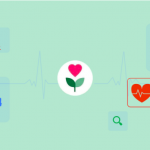 The Heroes Health Initiative logo, a heart growing from a green stem, is centered in a mint green background. A cardiograph runs along the center of the image.